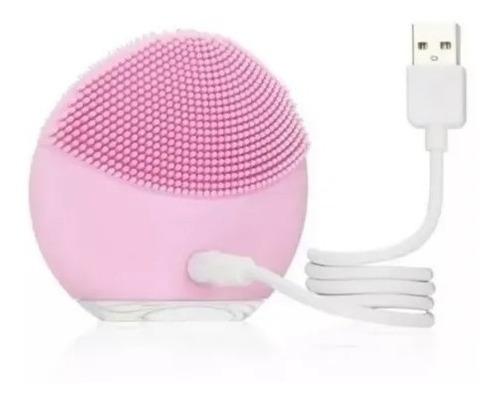 esponja para limpeza facial a melhor - recarregável usb rosa