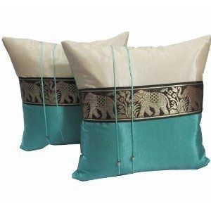 esponjas,un par de hermosa seda tailandesa fundas de alm..