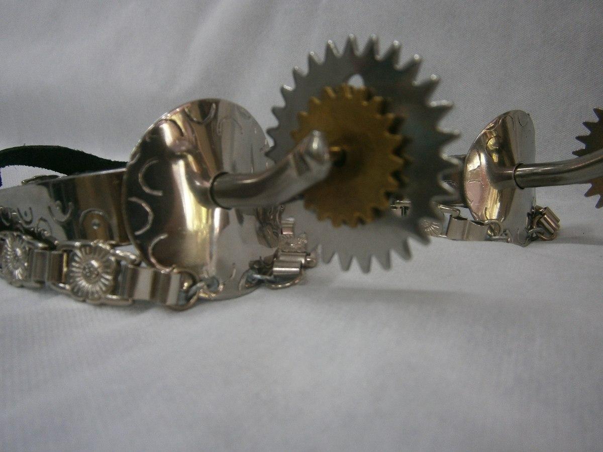 503fa88da3 espora dança gaúcha aço inox 3 rosetas+correias trabalhadas. Carregando  zoom.
