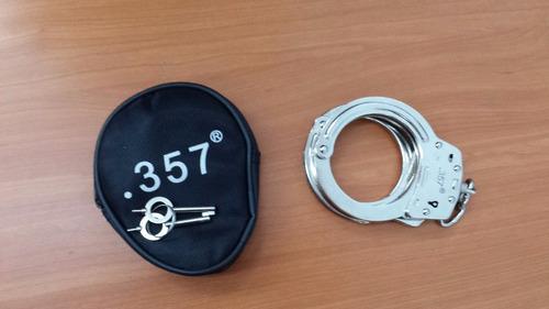 esposas originales handcuff marca .357 funda piel y 2 llaves