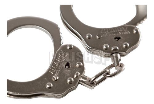 esposas policiales alcatraz metálicas con cadena nuevas!
