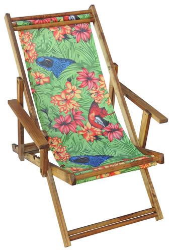 espreguiçadeira dobrável madeira cor imbuia arara flores