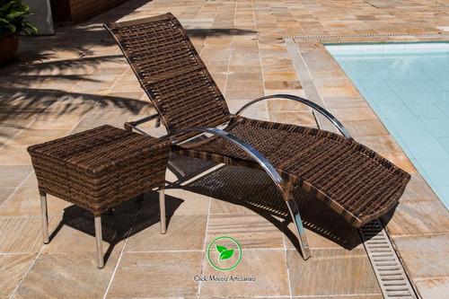 espreguiçadeira em alumínio para piscina encosto regulável