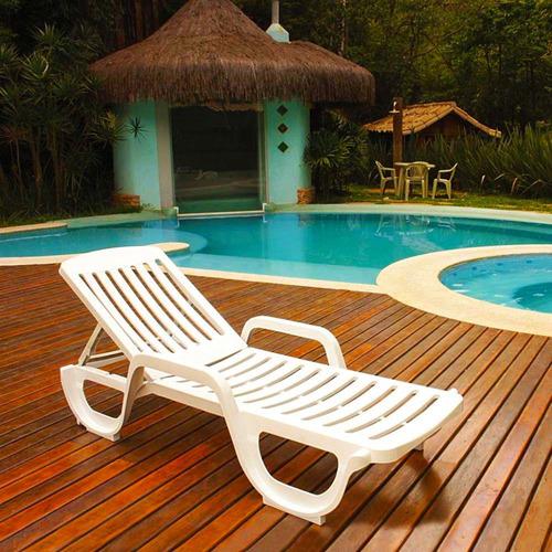 espreguiçadeira para piscina de plástico branca 3 posições