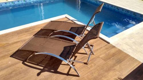 espreguiçadeiras 2 piscina aluminio fibra sintetica  + mesa