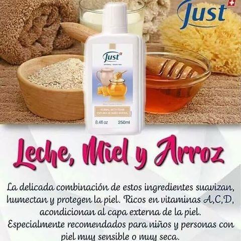 espuma de baño de leche, miel & arroz swiss just 250 ml