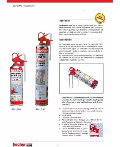 espuma poliuretano expandido fischer 750ml aerosol foam x12u