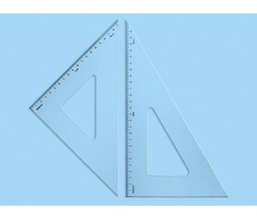 esquadro de acrílico par com escala tridente 26 cm