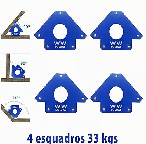 esquadro magnetico 4 peças 33kg ou 75lbs para solda wwsoldas