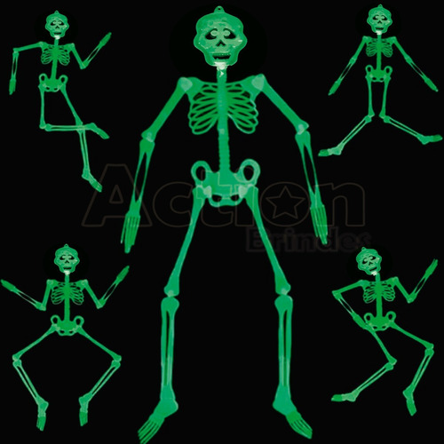 esqueleto neon brilha no escuro 90cm festa halloween - 3un