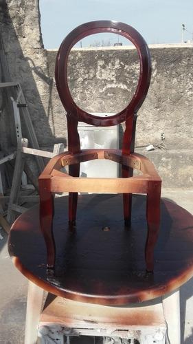 esqueleto,estructura silla medallón,patas reina ana tallada.