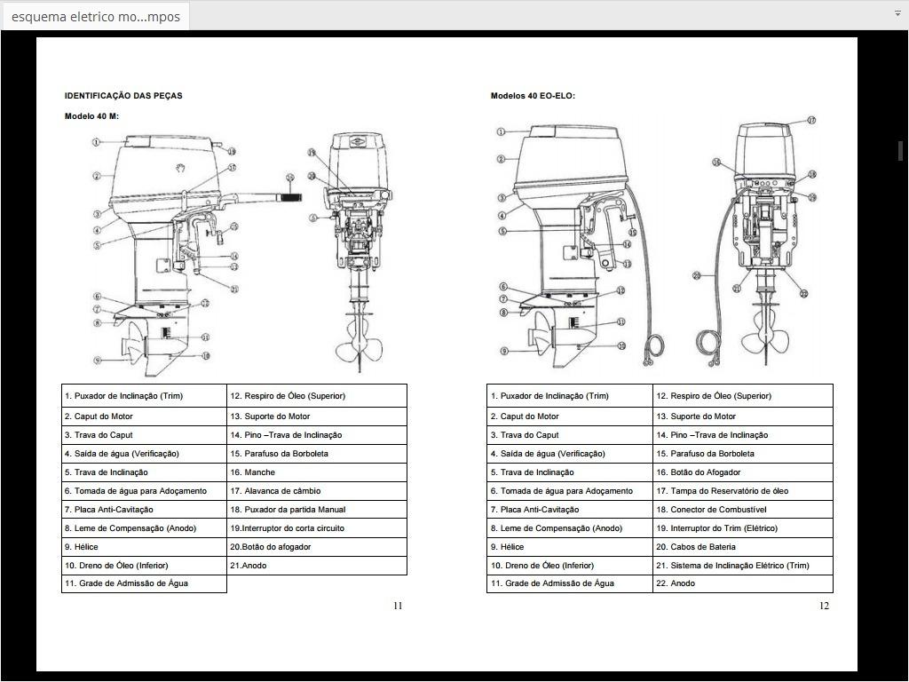 esquema eletrico motor de popa mercury 40 hp 2tempos r 1500 em