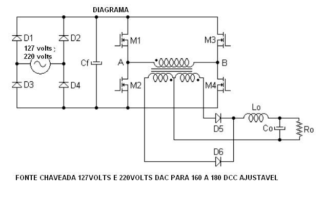 Esquema Fonte Chaveada 127 E 220volts Dac Para 160 E 180