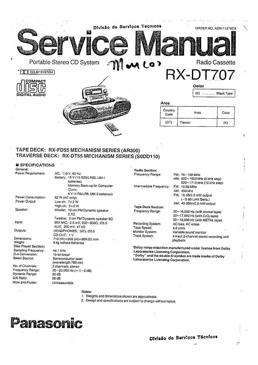 Esquema Panasonic Rx Dt707 Rxdt707 Em Pdf Via Email