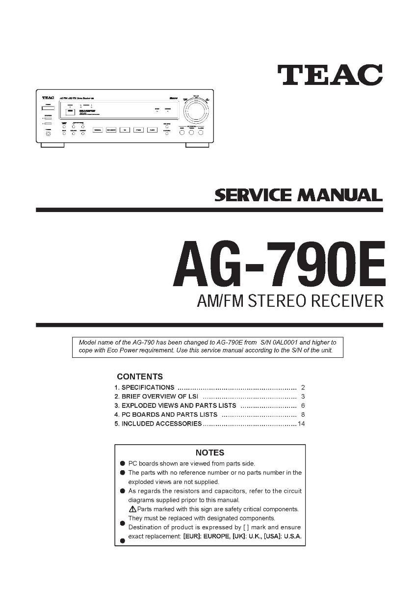 Esquema Receiver Teac Ag790e Ag 790e Em Pdf Via Email