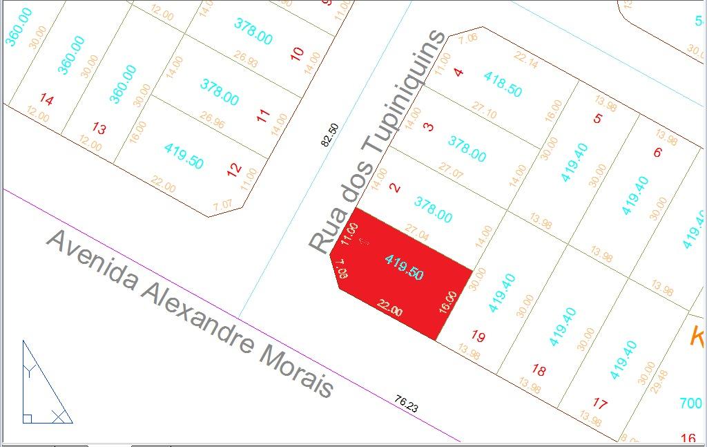 esquina 419,50m² (asfalto e agua) jardim pampulha