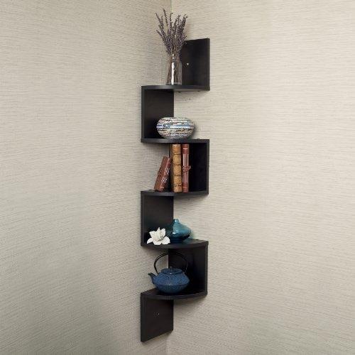 esquina grande pared soporte estante negro laminado