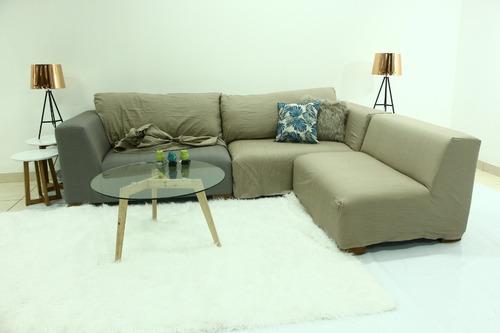 esquinero 280x200 tapizado en lino con funda