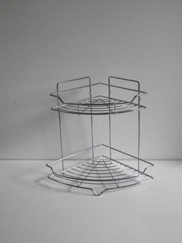 esquinero cromado dos estantes para baño o cocina reforzado