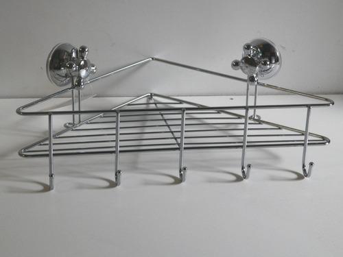 esquinero cromado para baño o cocina un estante con ganchos