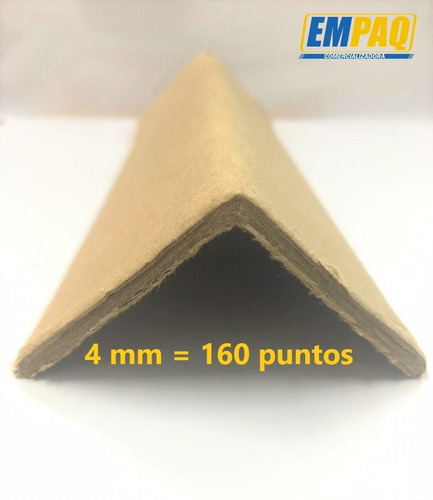 esquinero de cartón medidas: 2 x2 x100 cm, paq 25 pzs