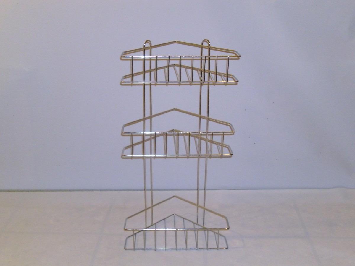 esquinero de tres estantes cromado para baño o cocina. Cargando zoom. 968e660e2536