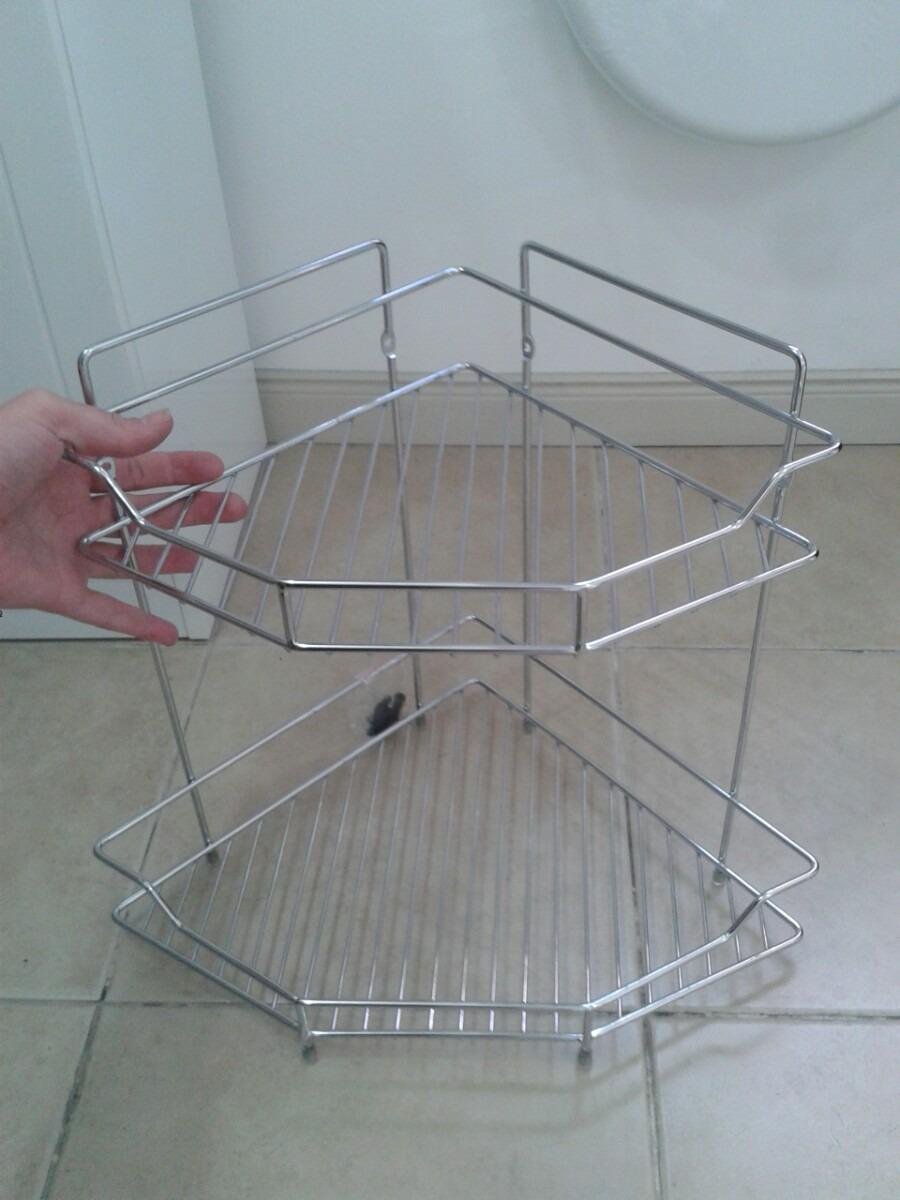 Esquinero en metal 2 pisos para ba o accesorio repisa for Piso ducha bano