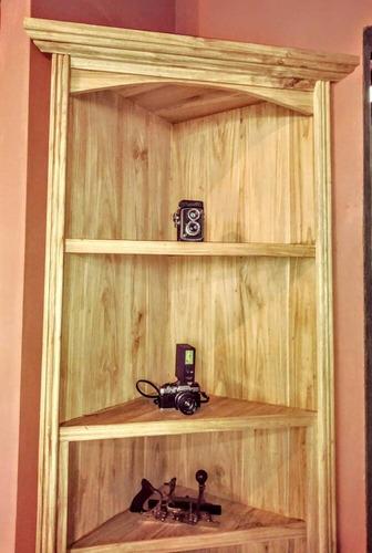 esquinero exhibidor de madera maciza pardillo  country