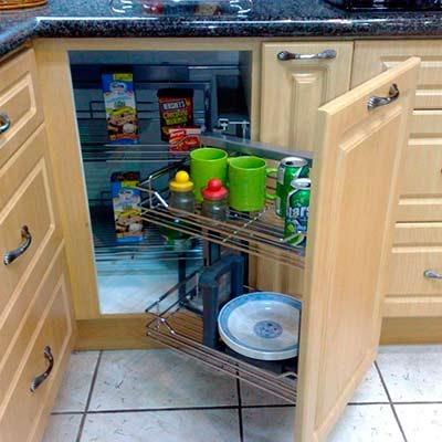 Esquinero m gico cromado para gabinete hafele 5 for Esquineros para cocina