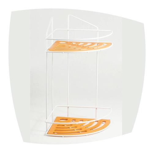 esquinero organizador doble esmaltado blanco naranja soldart