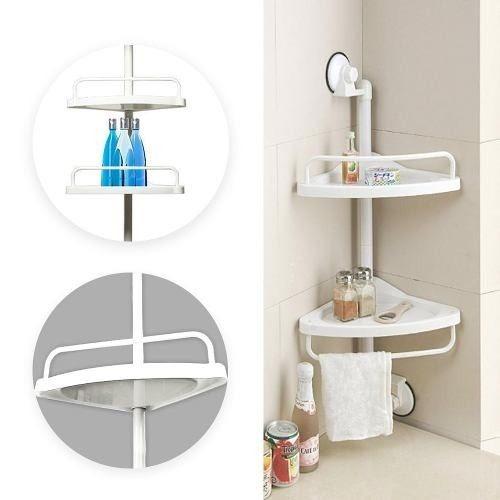 Esquinero para ducha ba o 2 repisas regulable blanco r3606 for Accesorios bano plastico