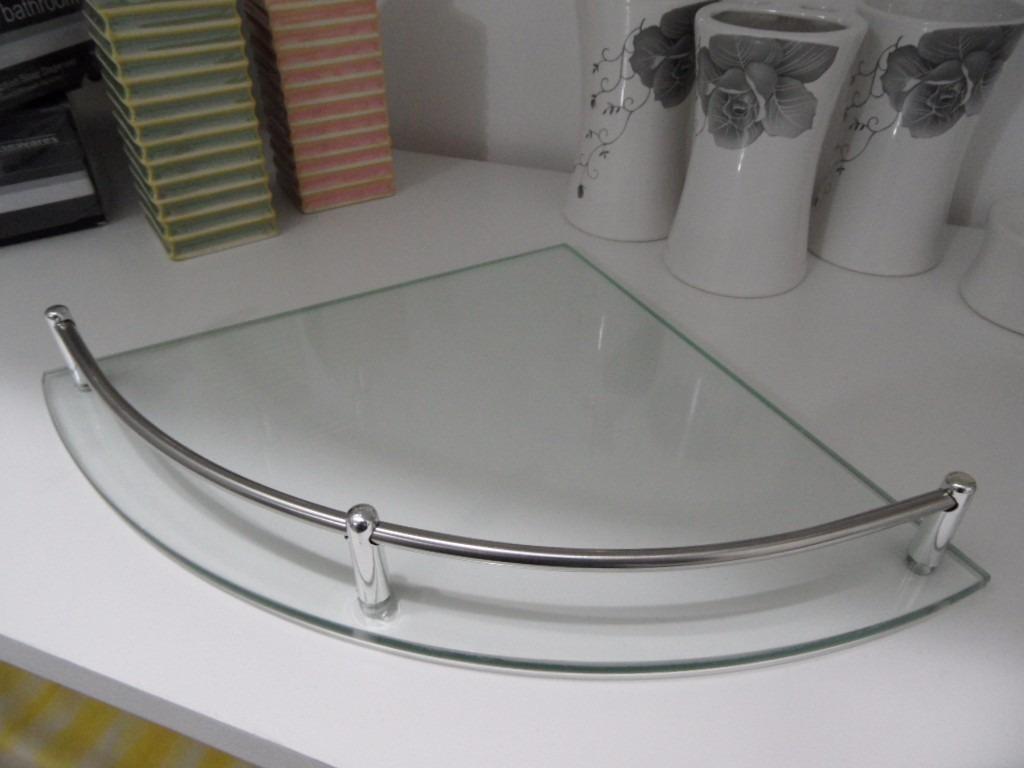 Esquinero repisa de vidrio baranda en metal accesorio for Baranda para ducha