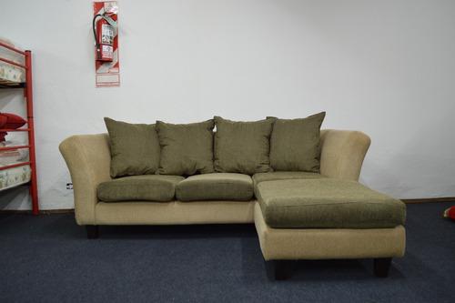 esquinero sillon sofa veneciano chenille con banqueta movil