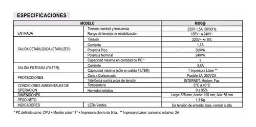 estabilizador atomlux de 500va r500 garantia 2 años