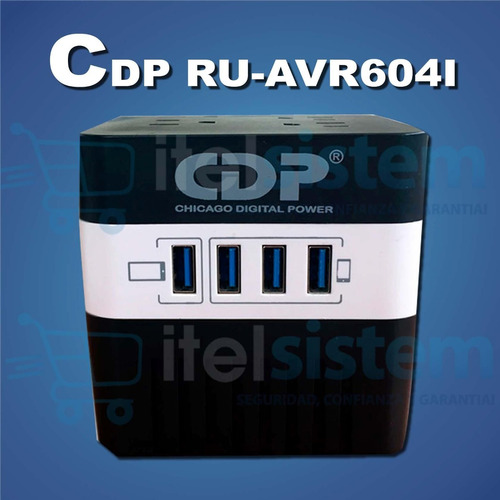 estabilizador cdp 720w 4 salidas 4 port usb nuevo itelsistem