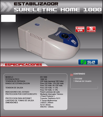 estabilizador de tension future 1000w 6 bocas