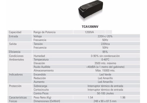 estabilizador de tension lyonn tca 1200nv para pc 1200w esdj