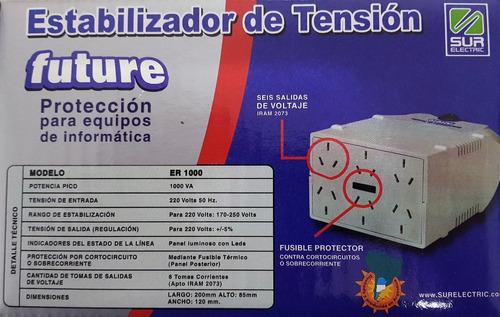 estabilizador de tension sur electric 1000va 6 tomas pc