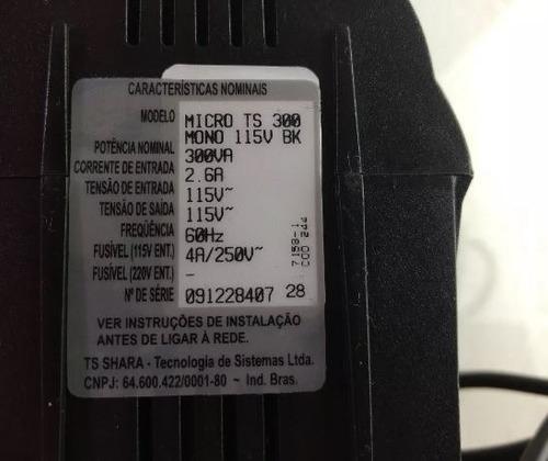 estabilizador monovolt 300va 4 tomadas ts shara 110v ts 300