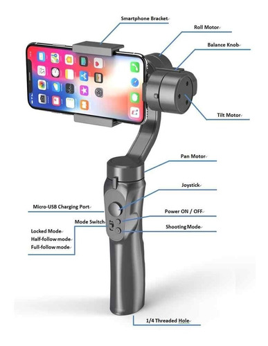estabilizador para smartphone profesional bluetooth 3 ejes