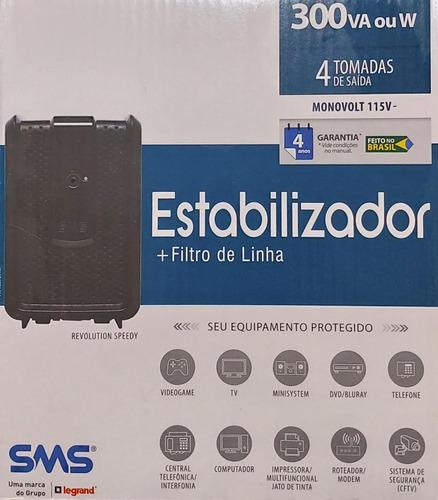 estabilizador sms 300va - monovolt 115v - 4 tomadas saída