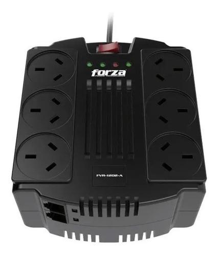 estabilizador tension forza fvr-1202a 600w 1200va 6 tomas