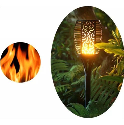 estaca led solar de jardin antorcha fuego 80cm calido