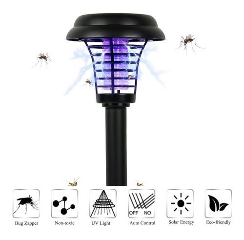 estaca led solar farol mata mosquitos blanco o purpura