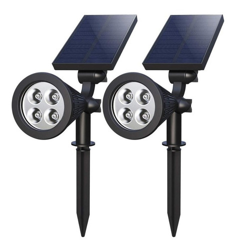 estaca reflector solar 4 led sensor mov 2 en 1 spot  x2 un