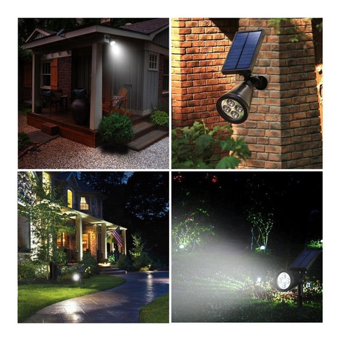 estaca solar luz 4 led sensor movimiento 2 en 1 pared x2 un