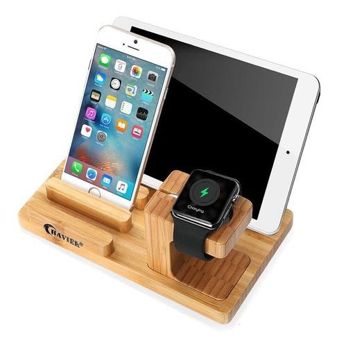 estación carga base cargadora madera bambú dock apple