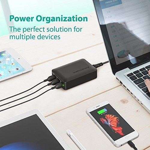 estación de carga ravpower 60w 12a 6 puertos usb p/iphone