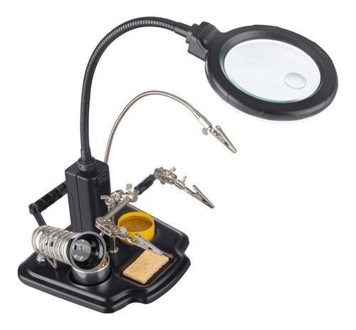 estación profesional para soldar, con lupa y lámpara
