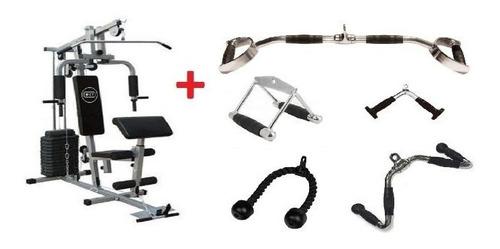 estação de musculação com 80kg + kit puxadores